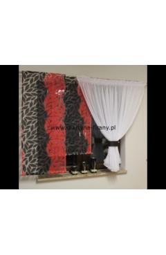 Komplet kokon + dwa panele liście czerwono-czarne