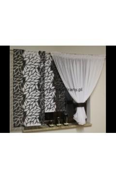 Komplet kokon + dwa panele liście czarno-białe