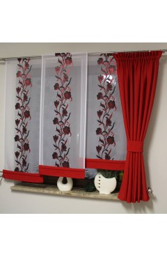 komplet 3 panele +zasłona kolor czerwony