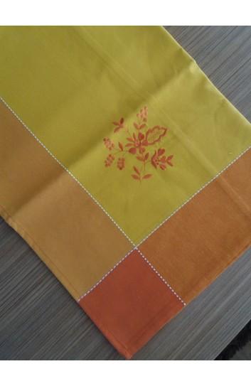 Obrus z haftem kokor pomarańcz 140x300  cm