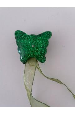 Magnes klips upinacz do firan motylek brokatowy zielony