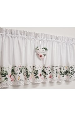 zazdrostka bawełniana  ,kwiaty,koronka 150x40cm